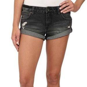 BILLABONG Black Wash Distressed Denim Shorts Sz 31